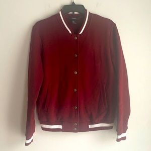Forever 21 maroon button front varsity jacket